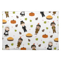 Pilgrims and Indians pattern - Thanksgiving Cloth Placemat