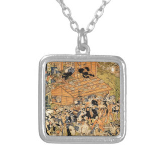 Pilgrims at the Roben waterfall Oyama by Utagawa Silver Plated Necklace
