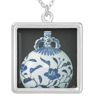 Pilgrim's 'Blue and White' Gourd with Floral Silver Plated Necklace