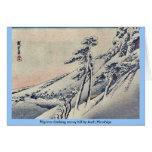 Pilgrims climbing snowy hill by Andō,Hiroshige Cards