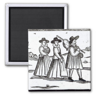 Pilgrims departing for the New World 2 Inch Square Magnet