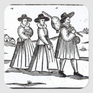 Pilgrims departing for the New World Sticker