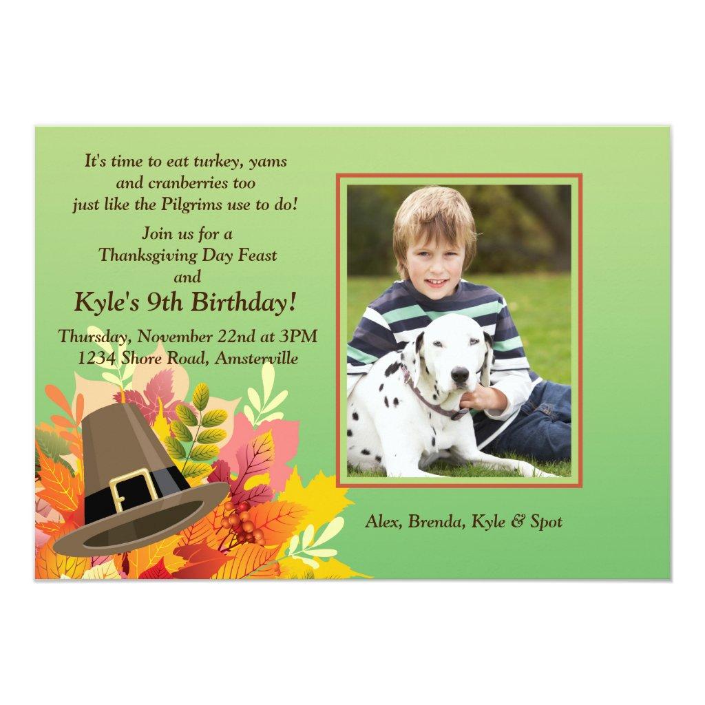 Pilgrim's Hat Birthday Photo Invitation