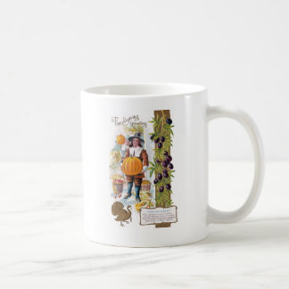 Pilgrims, Plums and Pumpkins Vintage Thanksgiving Coffee Mug