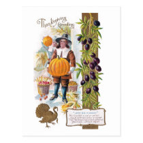 Pilgrims, Plums and Pumpkins Vintage Thanksgiving Postcard