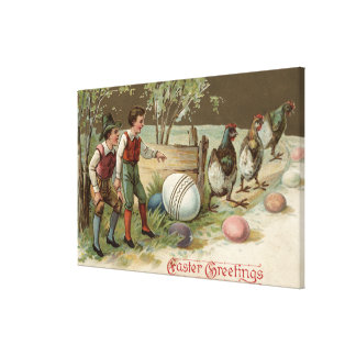 Pilgrims Pointing out Easter Eggs Canvas Print