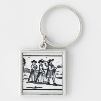 Pilgrims set sail on the Mayflower Silver-Colored Square Keychain