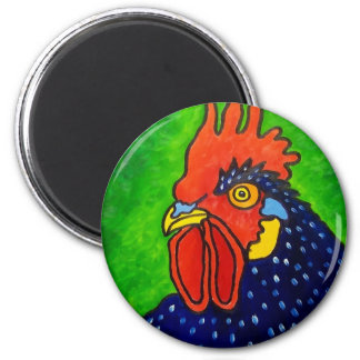 Piliero Rooster 6 2 Inch Round Magnet