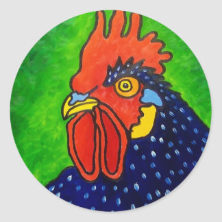 Piliero Rooster 6 Classic Round Sticker