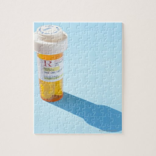 Pill bottle full of medication puzzle