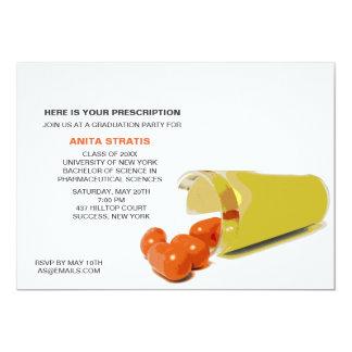 "Pill Bottle Pharmacist Graduation Invitation 5"" X 7"" Invitation Card"