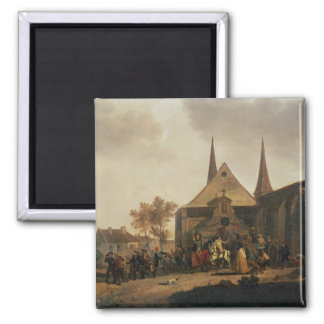 Pillage of a Church during the Revolution 2 Inch Square Magnet