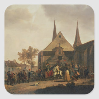 Pillage of a Church during the Revolution Square Sticker