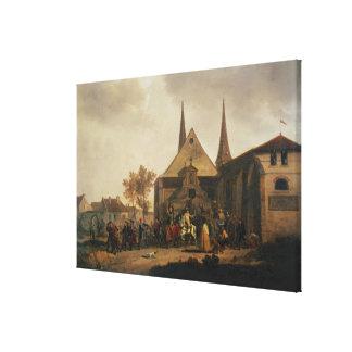 Pillaje de una iglesia durante la revolución lona envuelta para galerías