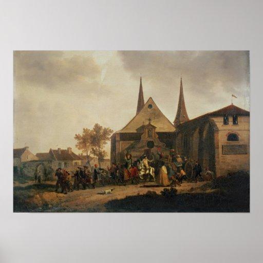 Pillaje de una iglesia durante la revolución poster