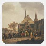 Pillaje de una iglesia durante la revolución pegatinas cuadradas personalizadas