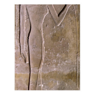 Pillar depicting a woman smelling a lotus flower postcard