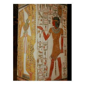 Pillar depicting Osiris and a priest wearing Postcard