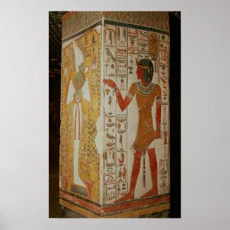 Pillar depicting Osiris and a priest wearing Poster