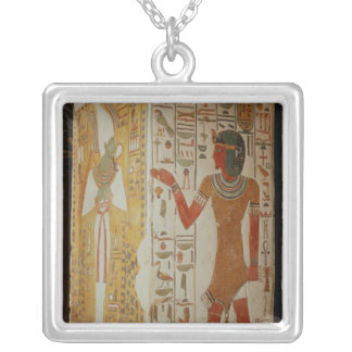 Pillar depicting Osiris and a priest wearing Square Pendant Necklace