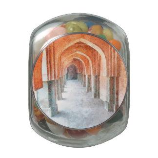 Pillars in a heritage Delhi building Glass Jars