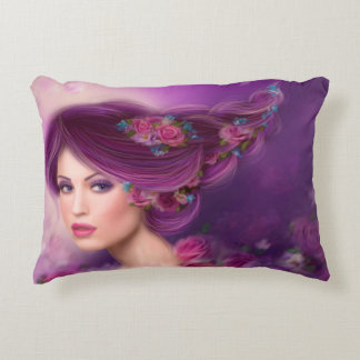"""Pillow 16"""" x 12""""Fantasy woman with purple flowers"""