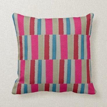 Beach Themed Pillow, 16 x 16, poly, beach stripes, pink, red throw pillow