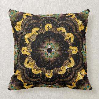Pillow | Black Gold Hippy Mandala peacock feathers