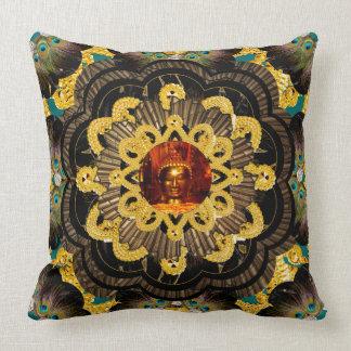 Pillow | Black Gold Hippy Mandala with Buddha