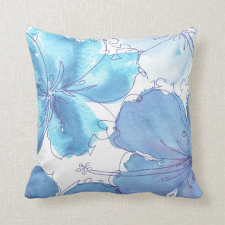 Pillow - Blue Hibiscus Flower - Watercolor