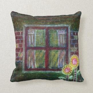 Pillow, Bricks and Flowers Throw Pillow
