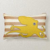 Pillow: Brown & Yellow Octopus Lumbar Pillow
