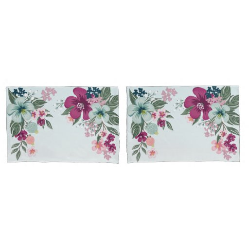 Pillow Cases Tropical Flower on Blue Ombre