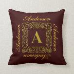 """Pillow - Celtic Dragon-Framed """"A"""""""