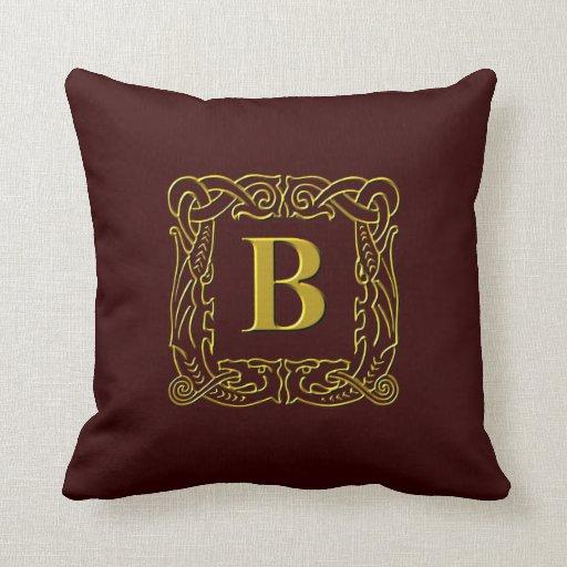"""Pillow - Celtic Dragon-Framed """"B"""""""