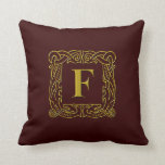 """Pillow - Celtic Dragon-Framed """"F"""""""