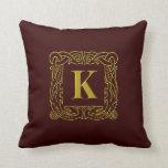 """Pillow - Celtic Dragon-Framed """"K"""""""