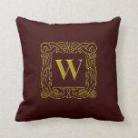 """Pillow - Celtic Dragon-Framed """"W"""""""