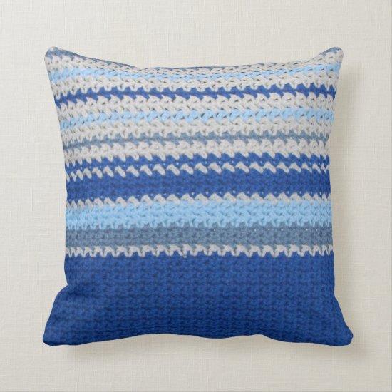 Pillow - Crochet pattern - blue stripes