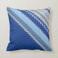 Pillow - Crochet pattern - blue stripes (diagonal)