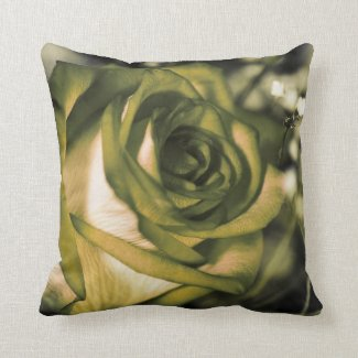 Pillow Cushion, Green Rose Chartreuse Throw Pillow