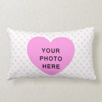 ♥ PILLOW CUSHION pink white hearts polka dot photo