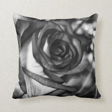 USA Themed Pillow Cushions, Black & White Rose photography