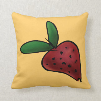 Pillow, Cute Painted Strawberry Illustration Throw Pillow