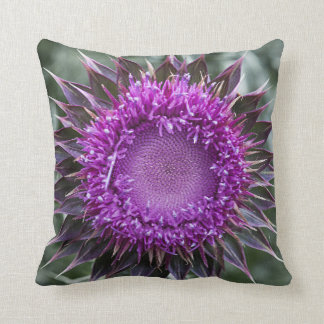 Pillow decorated by an artichoke bloom