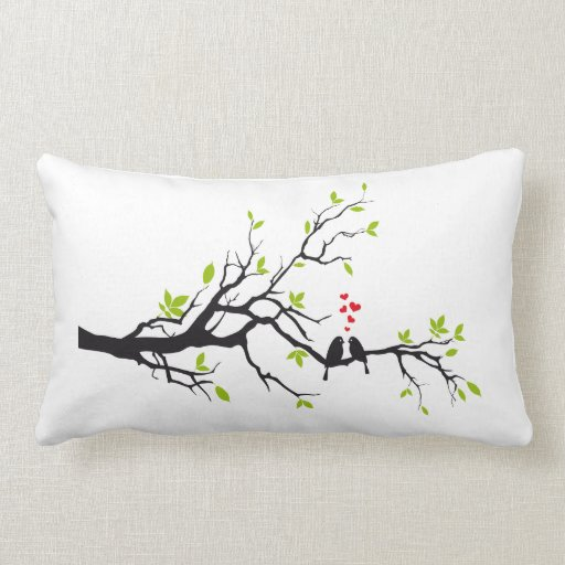Pillow Design Love Birds On Tree Branch Zazzle