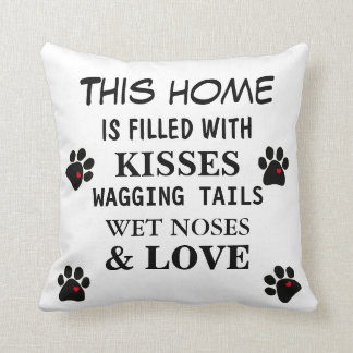Pillow Dog Lovers Wet Noses Wagging Tails Love