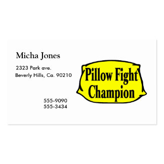 Pillow Fight Champion Business Card Templates