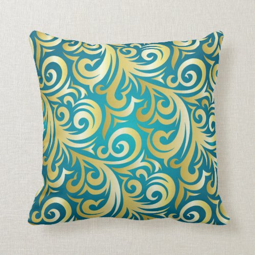 Pillow - Gold and Turquoise Verder Design Pillows