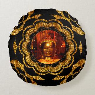 Pillow | Gold Mandala Bronze Buddha Round Pillow